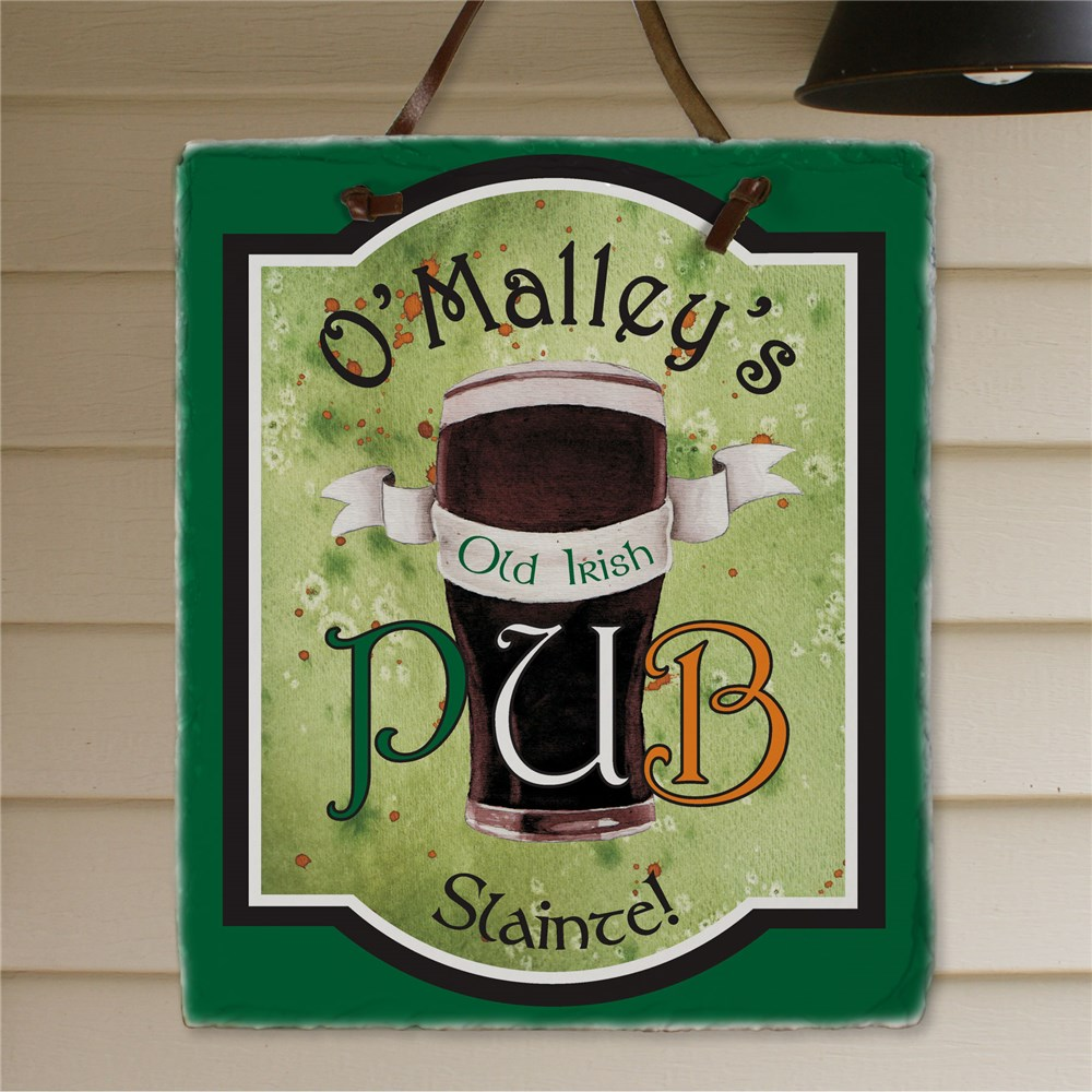 Personalized Old Irish Pub Slate Plaque | Personalized Welcome Signs