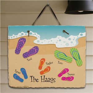 Personalized Flip Flop Family Slate Plaque | Personalized Welcome Signs