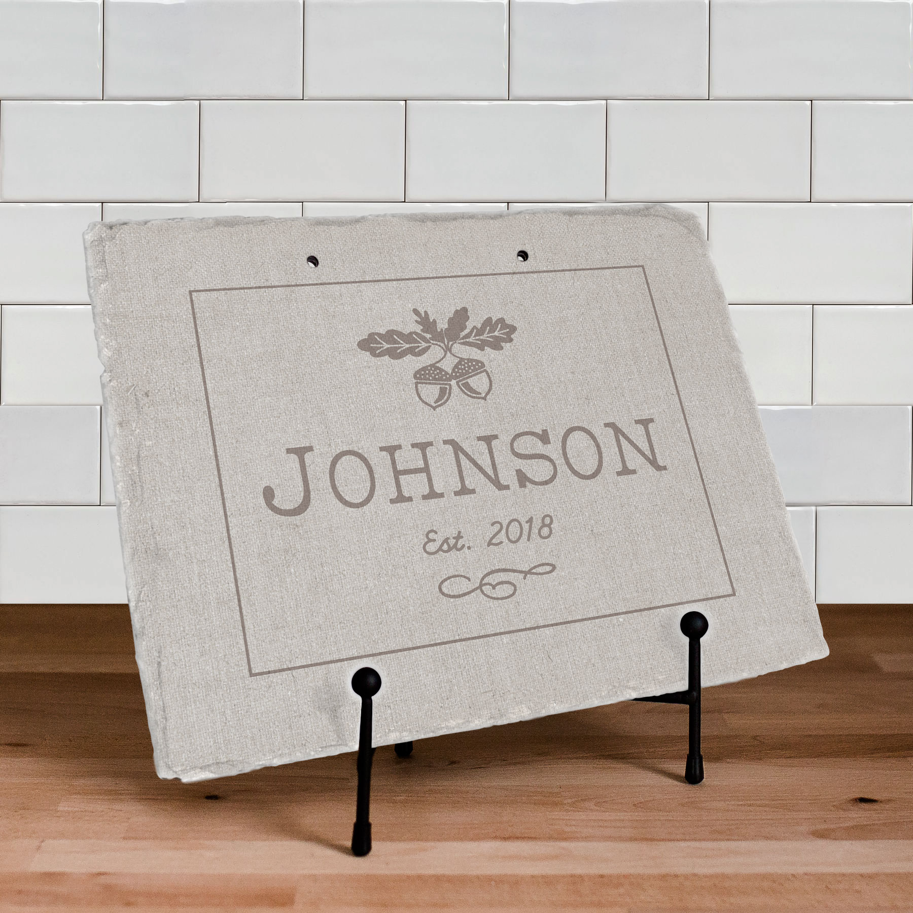 Fall Acorn Personalized Slate Plaque | Personalized Welcome Signs