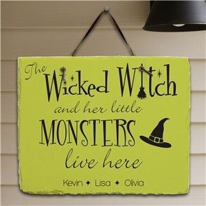 Halloween Witch Personalized Slate Plaque | Personalized Welcome Signs