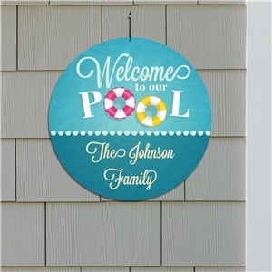 Personalized Welcome To Our Pool Round Sign 6433716