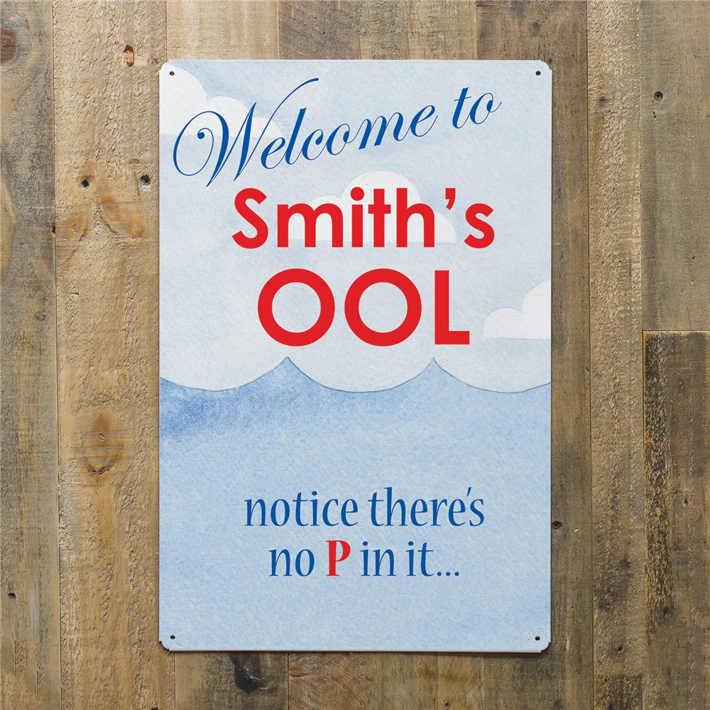 Personalized Pool Welcome Metal Wall Sign 643544