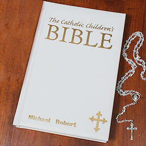 Personalized Catholic Children's White Bible