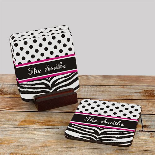 Personalized Zebra Pink Drink Coasters 659439CS