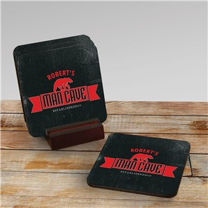Personalized Man Cave Coaster Set | Personalized Man Cave Gifts