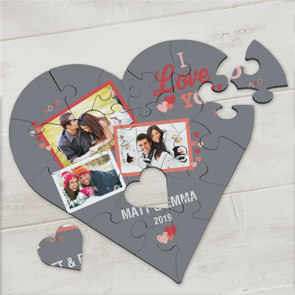 Personalized I Love You Photo Heart Puzzle | Personalized Valentine's Gifts