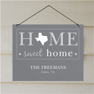 Personalized Home Sweet Home Wall Sign | Personalized Wall Signs With State