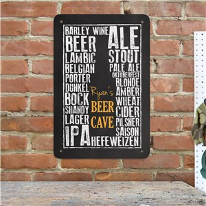 Personalized Beer Cave Wall Sign | Personalized Bar Signs