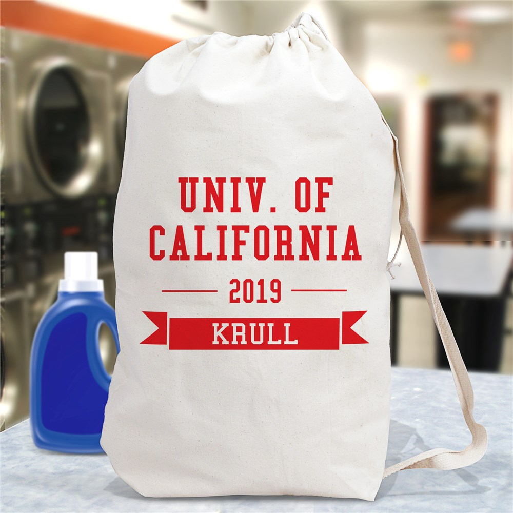 Personalized College Laundry Bag | Graduate Gifts