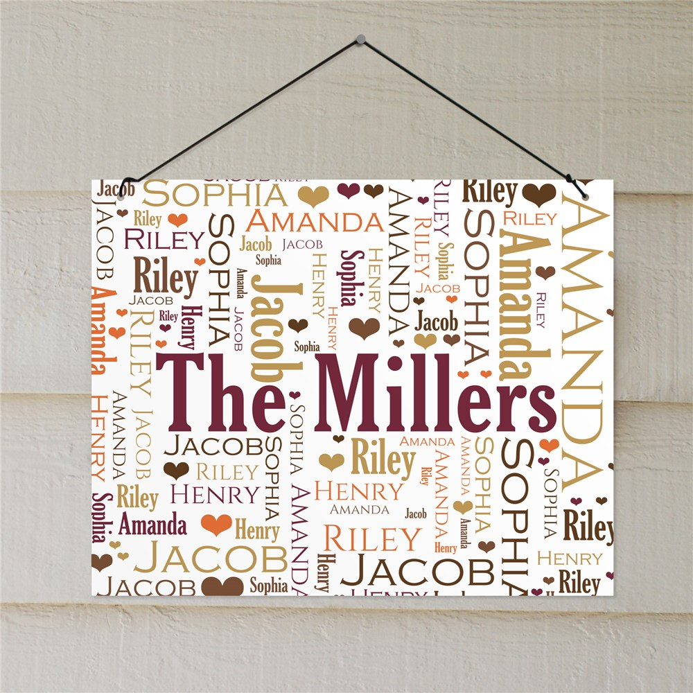 Personalized Family Word-Art Wall Sign | Personalized Family Name Sign