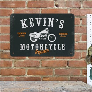 Personalized Motorcycle Repair Metal Wall Sign | Mancave Gifts