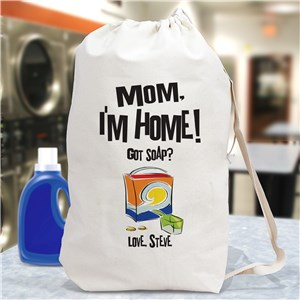 Mom, I'm Home! Personalized Laundry Bag| Funny Grad Gifts