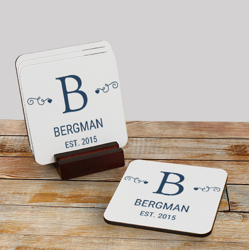 Family Monogram Personalized Coasters | Personalized Drink Coasters