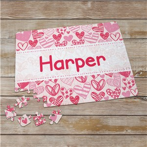 Personalized Pink Hearts Puzzle | Valentines Day Gifts For Kids