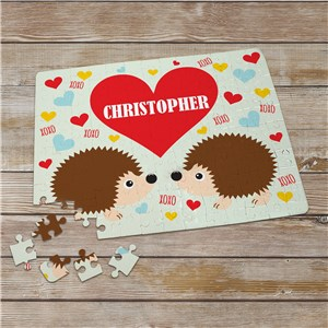 Personalized Hedgehogs Love Photo Puzzle | Valentines Day Gifts For Kids