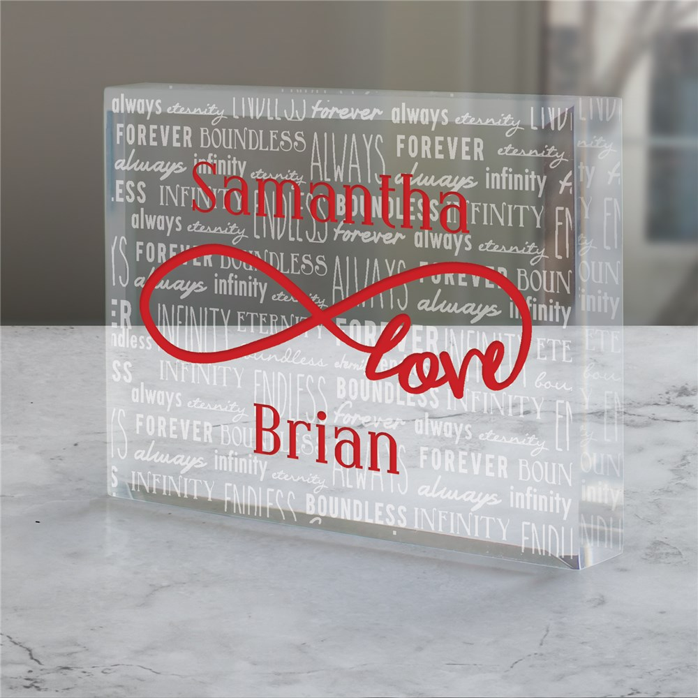 Engraved Love Infinity Acrylic Keepsake Block | Personalized Valentines Day Gifts