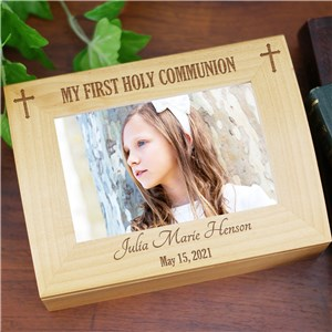 Engraved Cross First Communion Box | Personalized Keepsake Box