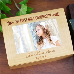 Engraved Dove First Communion Box | Personalized Keepsake Box