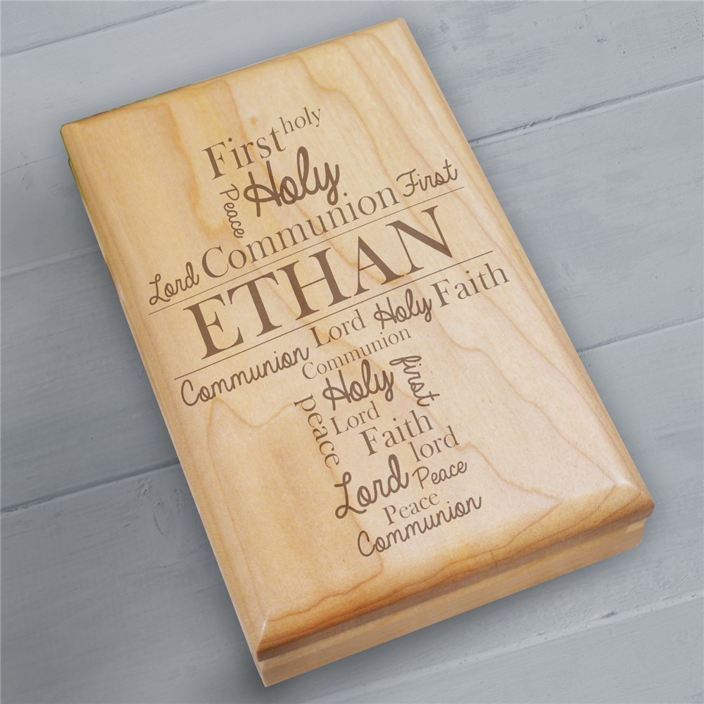 Engraved First Communion Wood Valet Box | Personalized Keepsake Box