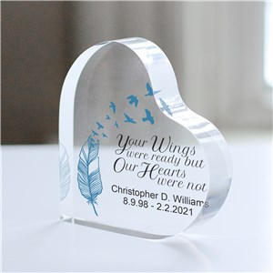 Personalized Wings Were Ready Acrylic Heart Memorial Keepsake