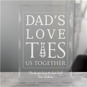 Engraved Dad's Love Ties Us Together Keepsake | Personalized Father's Day Keepsakes