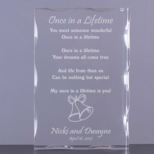 Once In A Lifetime Wedding Keepsake Block