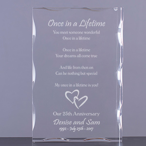 Once In A Lifetime Anniversary Keepsake Block | Personalized Couple Gifts