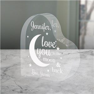 Engraved To The Moon and Back Acrylic Keepsake | Engraved Glass Gifts for Valentines Day