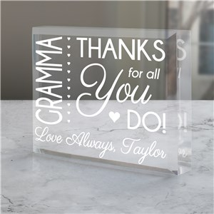 Engraved Thanks For All You Do Acrylic Keepsake | Unique Mother's Day Keepsakes