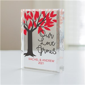 Personalized Our Love Grows Beveled Acrylic Keepsake | Personalized Gifts For Valentines