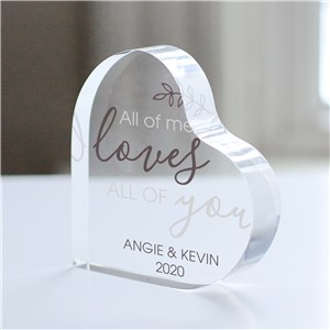 Personalized All Of Me Acrylic Heart Keepsake | Personalized Valentine's Day Gifts For Her