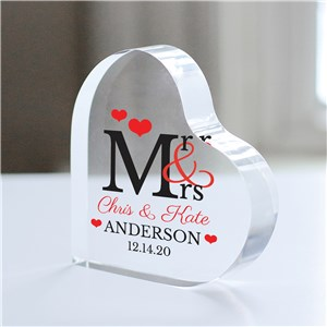 Personalized Mr and Mrs Acrylic Heart Keepsake | Personalized Wedding Gifts