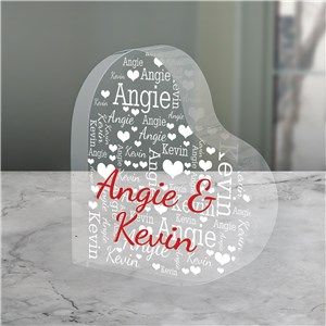 Personalized Couples Word-Art Acrylic Heart Keepsake | Personalized Valentine's Keepsakes