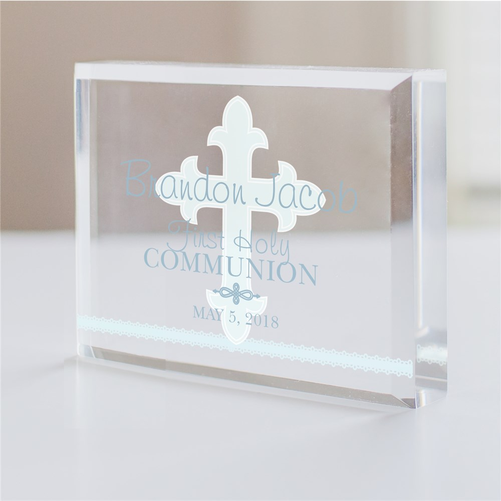 My First Holy Communion Cross Acrylic Block | Personalized Holy Communion Gifts