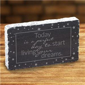 Engraved Start Living Dreams Marble Keepsake | Graduation Keepsake