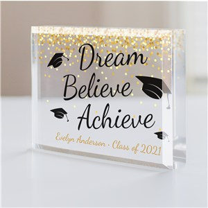 Personalized Dream.Believe.Achieve Keepsake | Personalized Grad Gifts