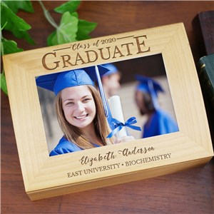 Engraved Class of Graduate Photo Keepsake | Personalized Keepsake Box