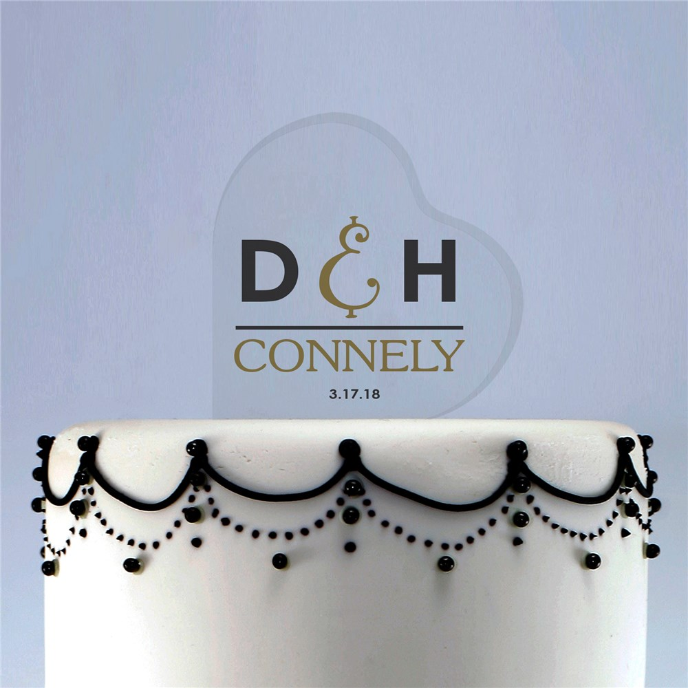 Personalized Wedding Day Acrylic Heart Cake Topper | Personalized Cake Toppers