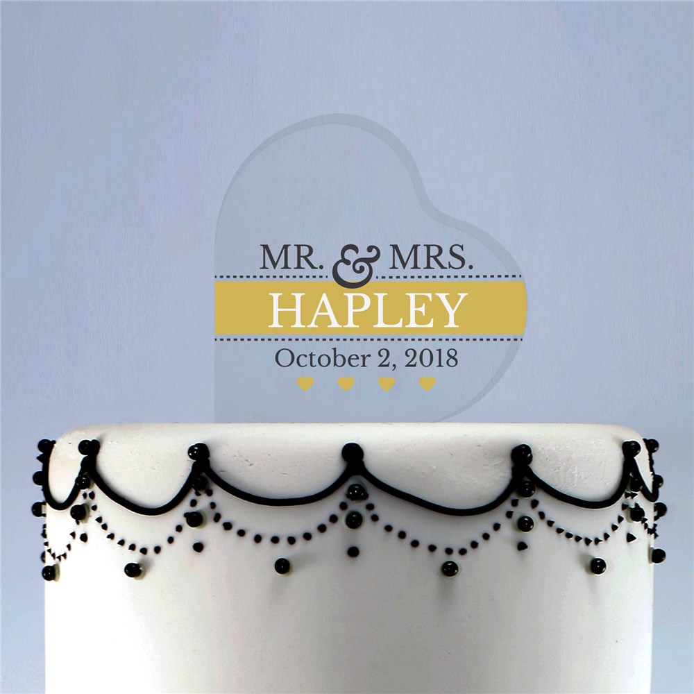 Personalized Mr and Mrs Acrylic Heart Cake Topper | Wedding Cake Topper