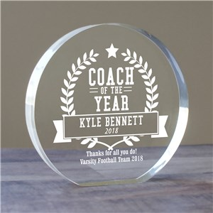 Personalized Coach of The Year Acrylic Keepsake | Personalized Coach Keepsakes