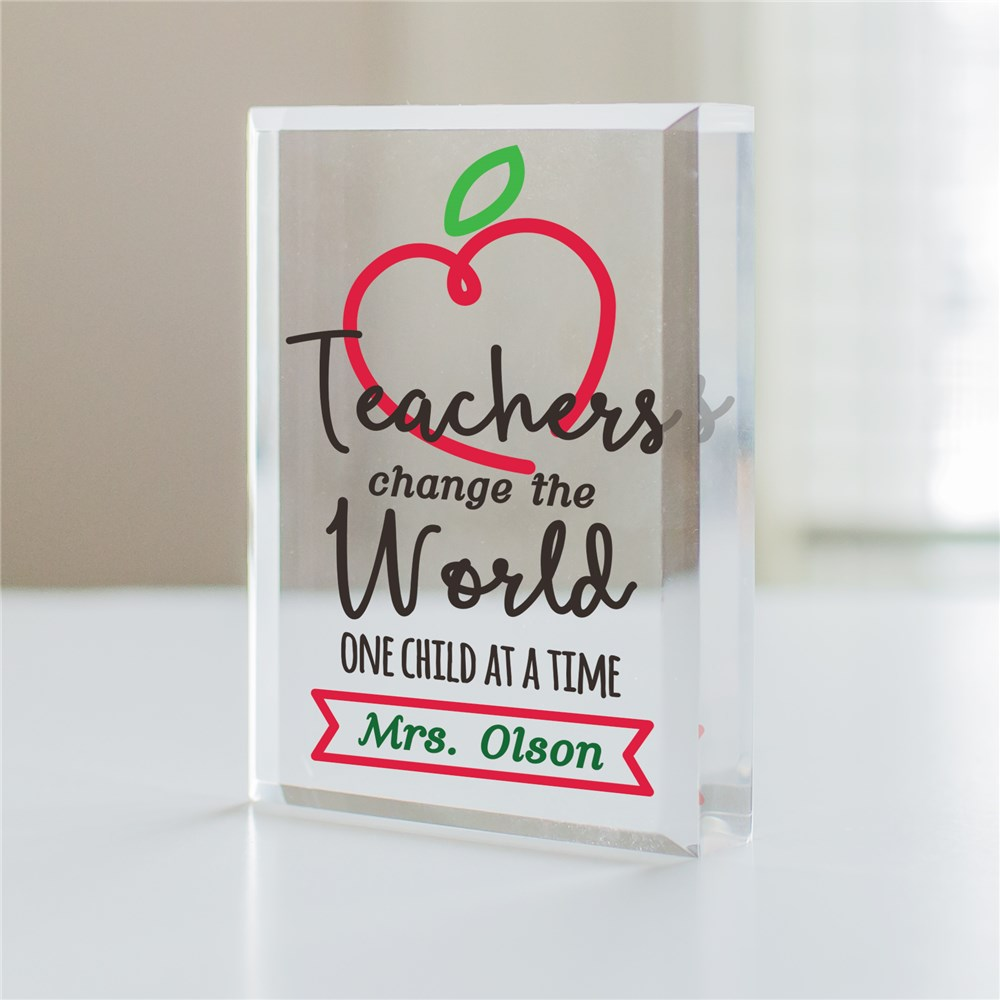 Personalized Teachers Change The World Keepsake | Personalized Teacher Gifts