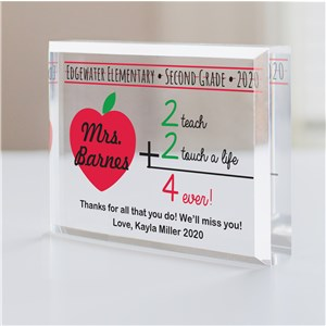 Personalized 2+2 Teacher Keepsake | Personalized Teacher Gifts