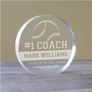 Personalized Number One Coach Round Acrylic Keepsake | Customized Coach Keepsakes