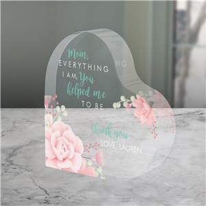 Personalized Everything I Am You Helped Me To Be Acrylic Heart Keepsake 7144372N