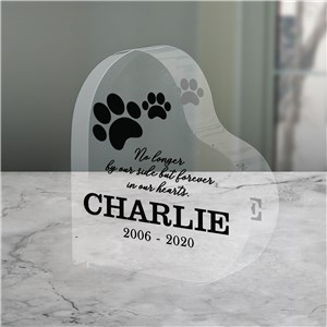 Paw Prints Memorial Keepsake | Heart Shaped Pet Loss Keepsake