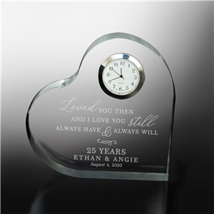 Engraved Heart Clock Keepsake | Personalized Anniversary Gift