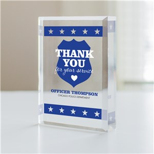 Personalized Thank You For Your Service Police Officer Keepsake
