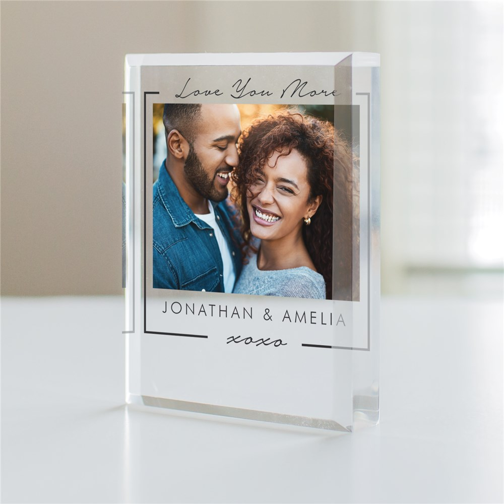 Personalized Love You More Acrylic Photo Keepsake for Couples
