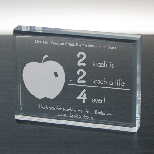 2 Touch A Life 4-ever Teacher Keepsake Paperweight | Personalized Teacher Gifts