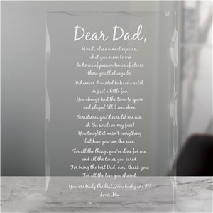 Engraved Fathers Day Keepsake Block | Father's Day Gifts